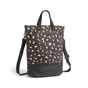Leopard print canvas cycling bag with shoulder strap