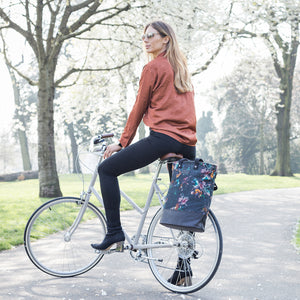 Lily floral print canvas cycling bag on bicycle