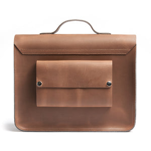 Tan leather satchel cycle bag back