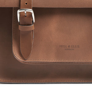 Tan leather satchel cycle bag detail