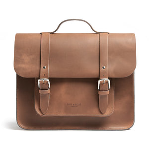 Tan leather satchel cycle bag front