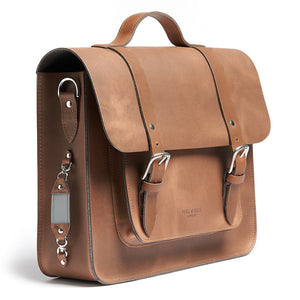 Tan leather satchel cycle bag with shoulder strap