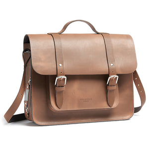 Tan leather satchel cycle bag shoulder strap