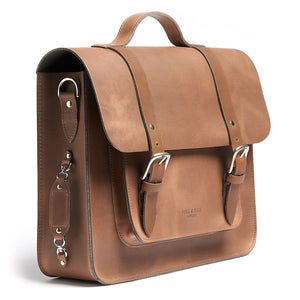 Tan leather satchel cycle bag side