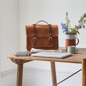 Tan leather satchel cycle bag