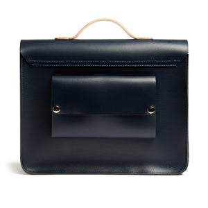 Load image into Gallery viewer, Navy and Tan leather satchel cycle bag back