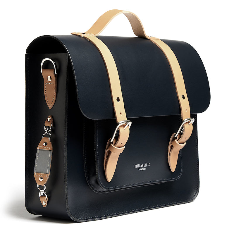 Navy and Tan leather satchel cycle bag with reflective detail