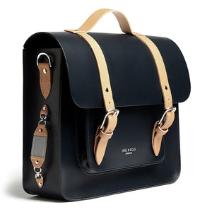 Load image into Gallery viewer, Navy and Tan leather satchel cycle bag with reflective detail