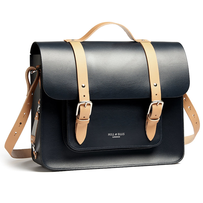 Navy and Tan leather satchel cycle bag with shoulder strap