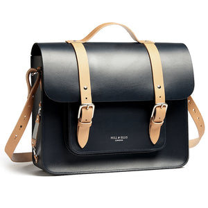 Load image into Gallery viewer, Navy and Tan leather satchel cycle bag with shoulder strap