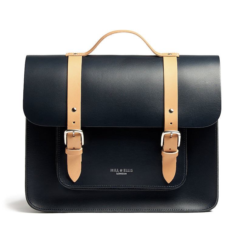 Navy and tan leather satchel cycle bag