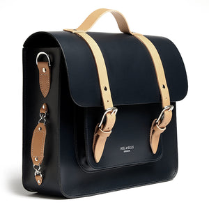 Navy and Tan leather satchel cycle bag side detail