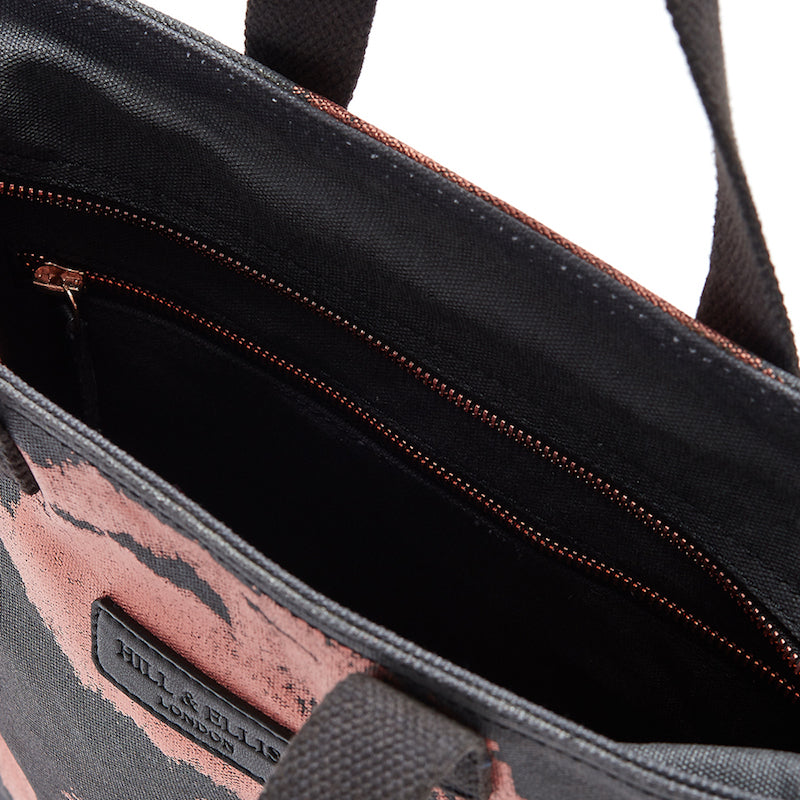 Copper print canvas cycling bag inside view