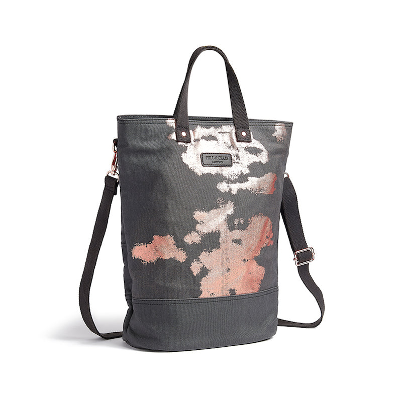 Copper print canvas cycling bag with shoulder strap