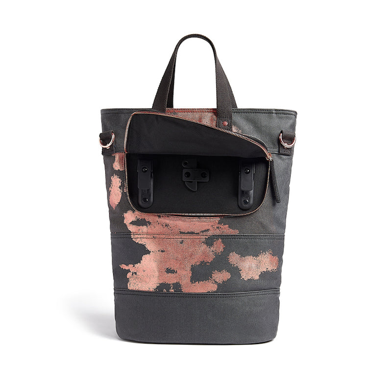 Load image into Gallery viewer, Copper print canvas cycling bag pannier hooks