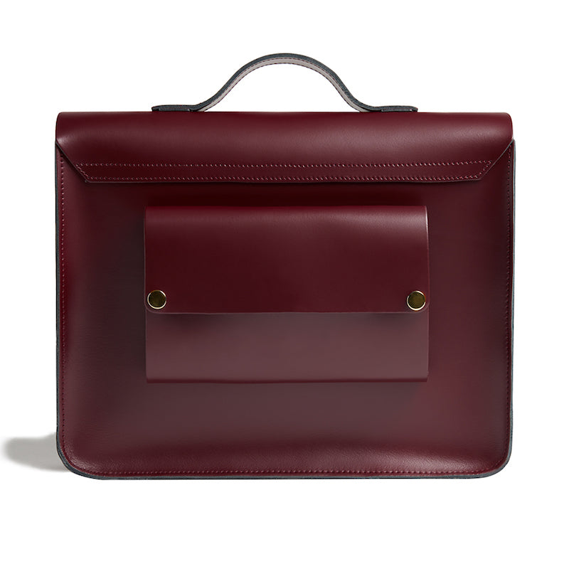 Limited Edition Burgundy cycle bag with brass buckles back view