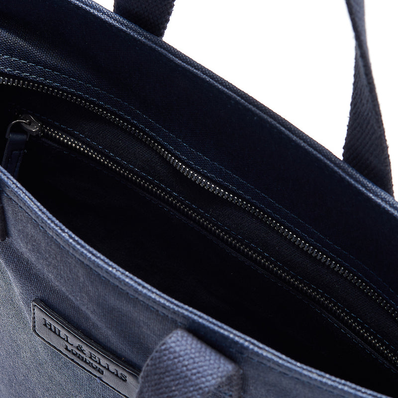 Load image into Gallery viewer, Hill and Ellis Skye navy canvas cycling bag inside