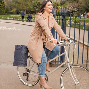 Hill and Ellis Skye navy canvas cycle bag on bicycle