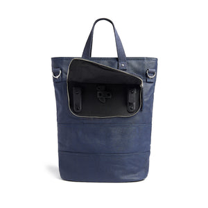 Load image into Gallery viewer, Navy canvas cycling bag showing pannier hooks