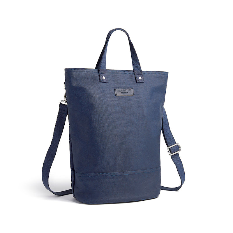 Hill and Ellis Skye navy canvas cycling bag with shoulder strap