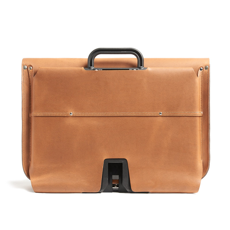 Tan leather brompton compatible cycle bag back