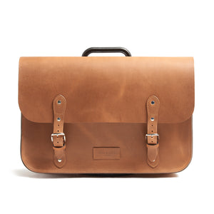 Tan leather brompton compatible cycle bag front