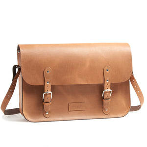 Tan leather brompton compatible cycle bag with shoulder strap