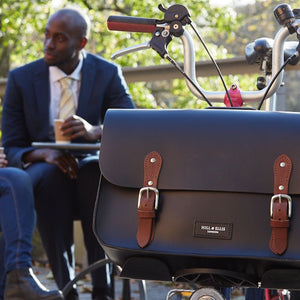 Hill and Ellis earl brompton compatible cycle bag on Brompoton bike