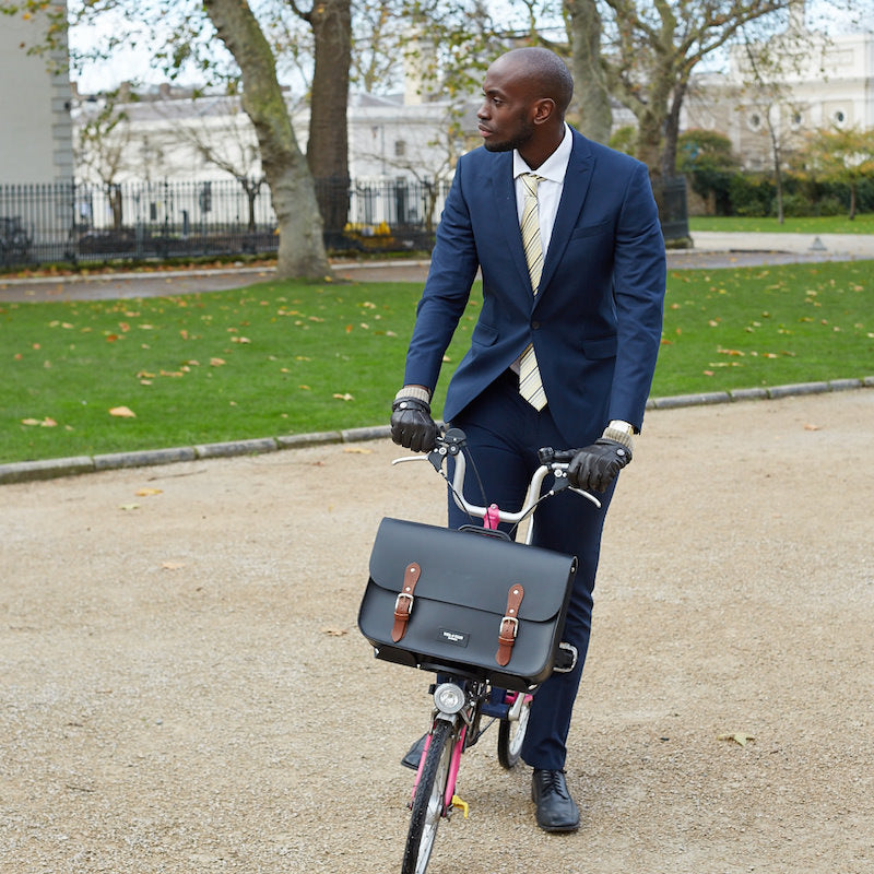 Hill and Ellis earl brompton compatible cycle bag on bicycle
