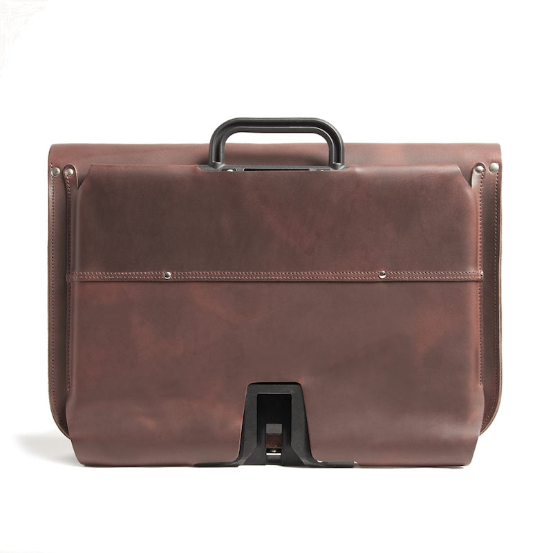 Brown leather brompton compatible cycle bag back