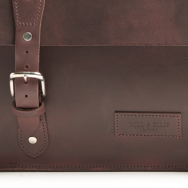Brown leather brompton compatible cycle bag detail