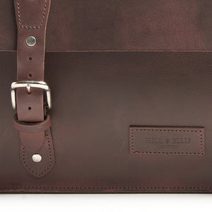 Hill and Ellis oscar leather brompton compatible cycling bag detail