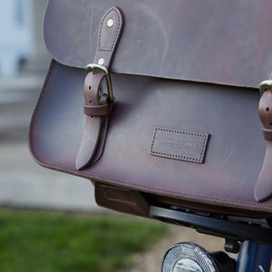 Hill and Ellis oscar leather brompton compatible cycling bag on bicycle