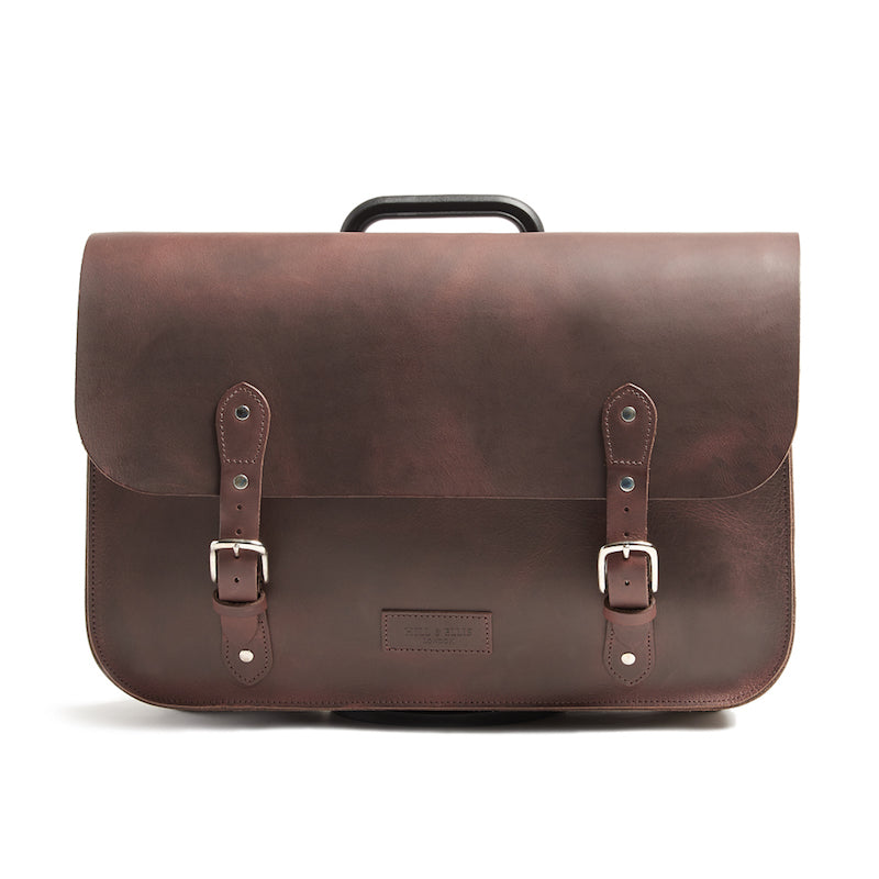 Brown leather brompton compatible cycle bag front