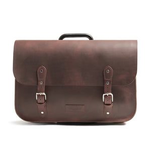 Hill and Ellis oscar leather brompton compatible cycling bag front