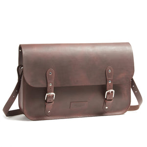 Brown leather brompton compatible cycling bag shoulder strap