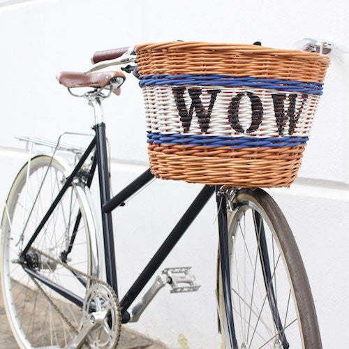 Personalised wicker bicycle basket