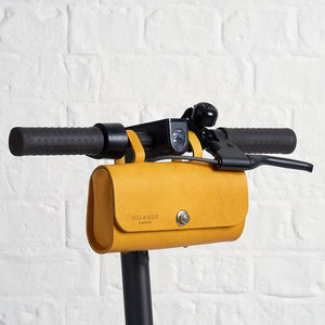 Mustard Yellow saddle bag on scooter