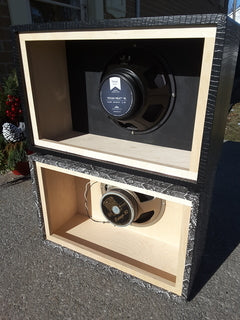 """Two custom 1x12"""" cabinets stacked on top of each other - Back view"""