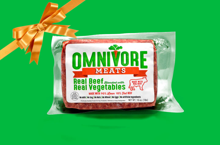 Give an Omnivore Meats Gift Card - Omnivore Meats, Seattle Washington, Food Business, Grass Fed Beef blended with Vegetables Pacific Northwest Food Company. Allergen free, non-gmo, plant based, minimally processed