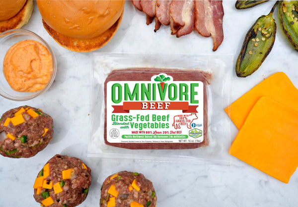 Omnivore Beef • 80% Lean 20% Fat - Omnivore Meats, Seattle Washington, Food Business, Grass Fed Beef blended with Vegetables Pacific Northwest Food Company. Allergen free, non-gmo, plant based, minimally processed