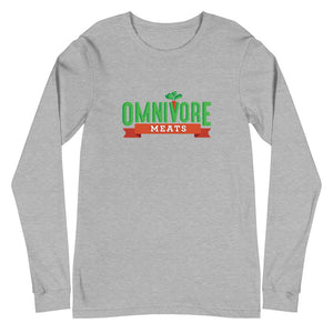 Unisex Long Sleeve Omnivore Tee - Omnivore Meats, Seattle Washington, Food Business, Grass Fed Beef blended with Vegetables Pacific Northwest Food Company. Allergen free, non-gmo, plant based, minimally processed