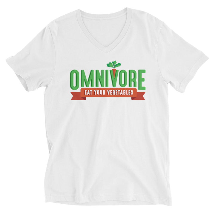 Unisex Short Sleeve V-Neck T-Shirt - Omnivore Meats, Seattle Washington, Food Business, Grass Fed Beef blended with Vegetables Pacific Northwest Food Company. Allergen free, non-gmo, plant based, minimally processed