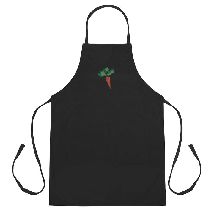 Embroidered Carrot Apron - Omnivore Meats, Seattle Washington, Food Business, Grass Fed Beef blended with Vegetables Pacific Northwest Food Company. Allergen free, non-gmo, plant based, minimally processed