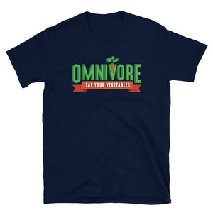 Short-Sleeve Unisex T-Shirt - Omnivore Meats, Seattle Washington, Food Business, Grass Fed Beef blended with Vegetables Pacific Northwest Food Company. Allergen free, non-gmo, plant based, minimally processed