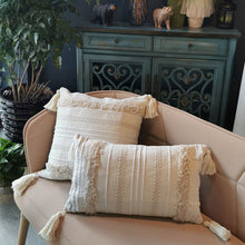 "Load image into Gallery viewer, ""Boho Tassle"" 2PCS Tufted Cushion Cover"