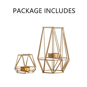 """Signature Lauren"" Set of 2 Geometric Candle Holders"