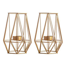 "Load image into Gallery viewer, ""Signature Lauren"" Set of 2 Geometric Candle Holders"