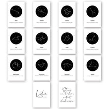 "Load image into Gallery viewer, ""White and Black Zodiac""  Constellation Art"