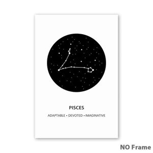 """White and Black Zodiac""  Constellation Art"